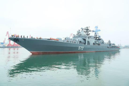 Russian vessels arrive in Qingdao for joint exercise with Chinese navy
