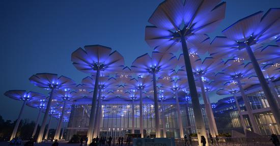 Splendid light show at International Pavilion in Beijing expo