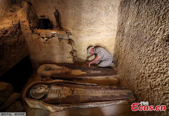 Ancient sarcophagi found in newly discovered burial site in Egypt