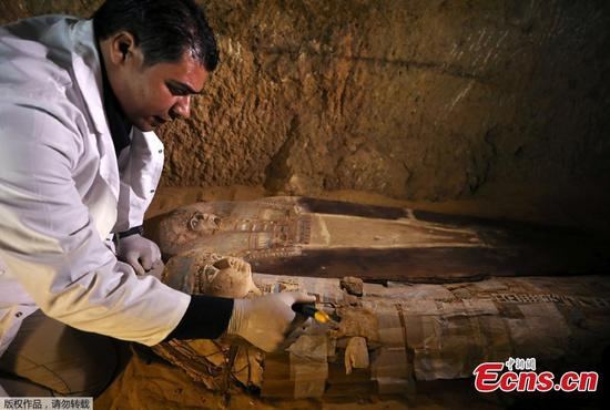 Egypt uncovers Pharaonic tombs near Giza Pyramids