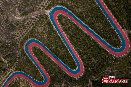 Colorful horseshoe bends captured from above