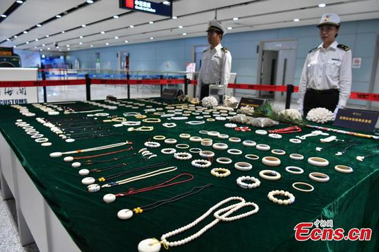 Kunming Customs reveal illegal animal products seized at airport
