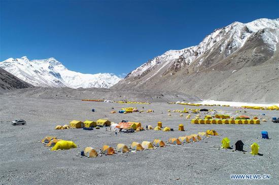 Base camp of northern face of Mount Qomolangma in Tibet