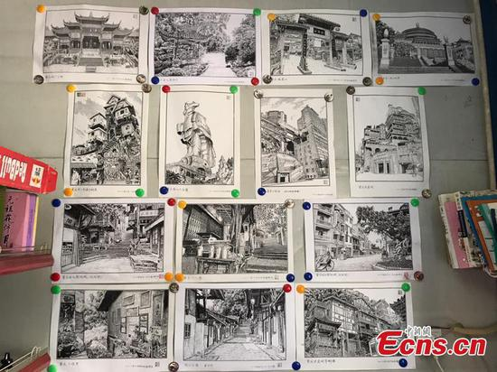 School guard creates pen drawings about Chongqing landmarks