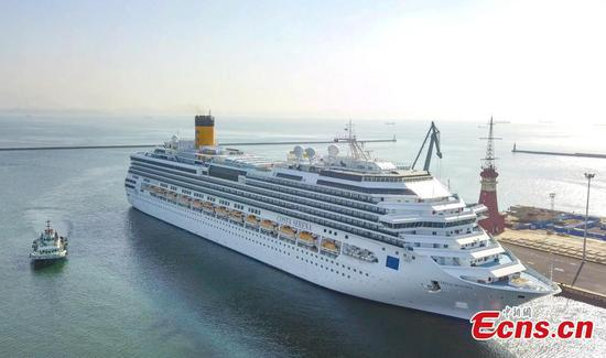 Cruise Costa Serena departs from Dalian port