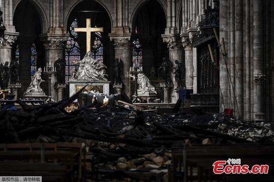 Inside the charred remains of Notre Dame