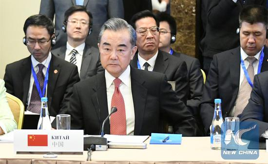 Chinese State Councilor and Foreign Minister Wang Yi attends the meeting of the Shanghai Cooperation Organization Council of Foreign Ministers in Bishkek, Kyrgyzstan, May 22, 2019. (Xinhua/Li Yong)