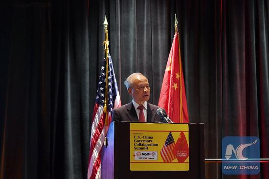 Chinese Ambassador to the United States Cui Tiankai addresses the fifth China-U.S. Governors Forum in Lexington, Kentucky, the United States, on May 23, 2019. (Xinhua/Li Rui)