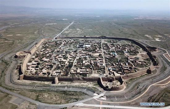 Turtle-shaped Yongtai ancient city in NW China's Gansu