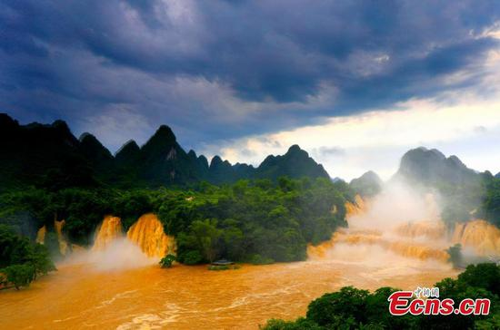 Rainstorm creates massive Detian Falls in Guangxi