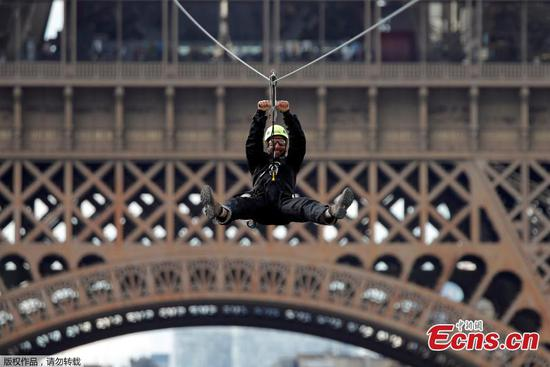 Ziplining from the Eiffel Tower