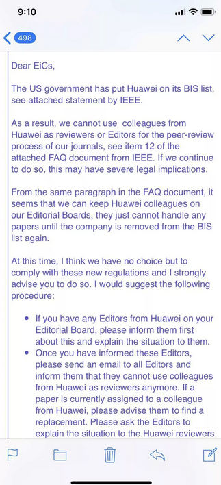 IEEE's email to members. (Photo via Weibo)