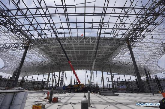 Main structure of Zhangjiakou Station basically completed