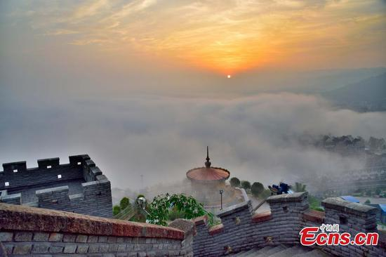 Town near Yangtze River blanketed in fog