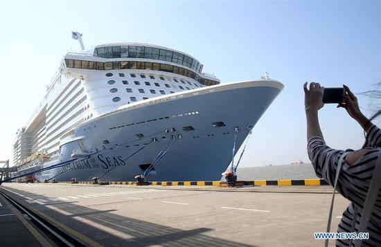 'Spectrum of the Seas' closes its 47-day journey, docks on Shanghai Wusongkou Int'l Cruise Terminal