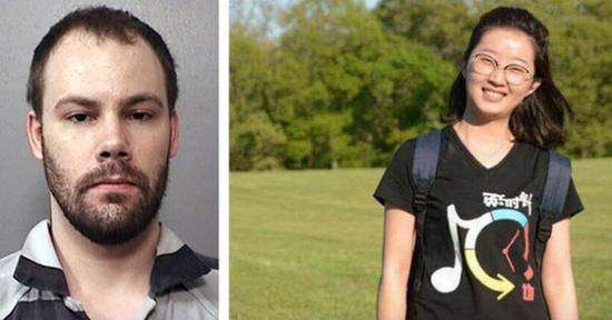 Combined file photo shows Chinese scholar Zhang Yingying (R) and suspect Brendt Christensen.