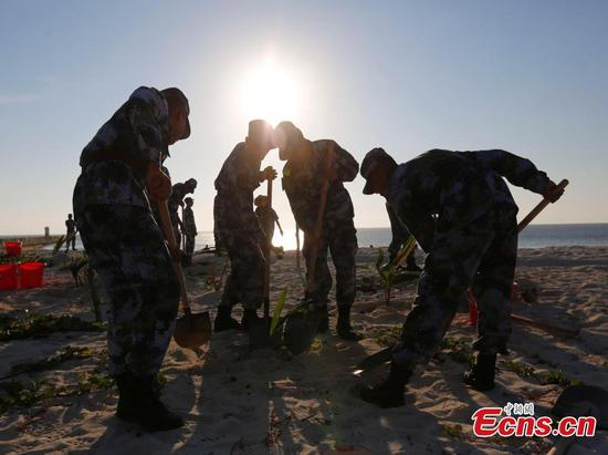 Soldiers transform barren Zhongjian Island