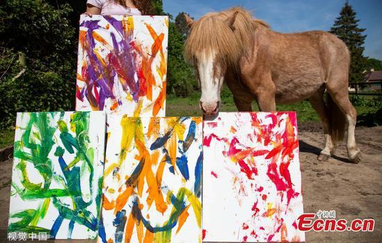 艺术系学生教小马为自己的最终作品作画