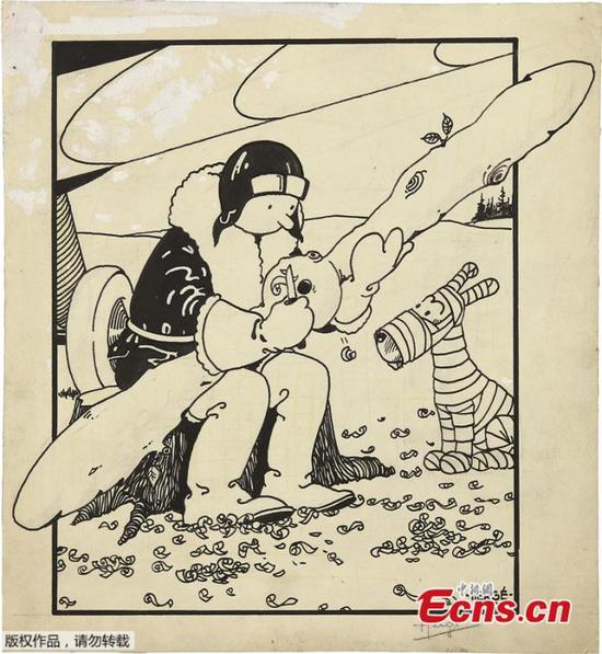 早期的《丁丁》封面在拍卖会上以112万美元的价格售出