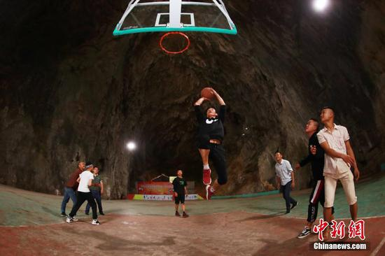 Basketball court built inside Karst cave in Guizhou