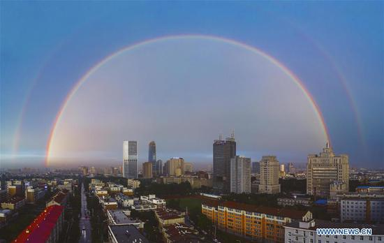 Double rainbow brightens sky over Changchun, NE China