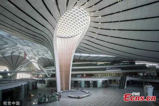 An inside view of the Beijing Daxing International Airport in Beijing on June 1, 2019. The airport will be put into operation before Sept. 30, according to the country's civil aviation authorities. Interior decorating and the installation and testing of electromechanical equipment are underway and will be completed this month. (Photo/VCG)