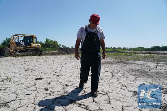 Blake Hurst, president of the Missouri Farm Bureau, walks on his rain-soaked fields in Tarkio, Missouri, the United States, on June 10, 2019. (Xinhua/Liu Jie)