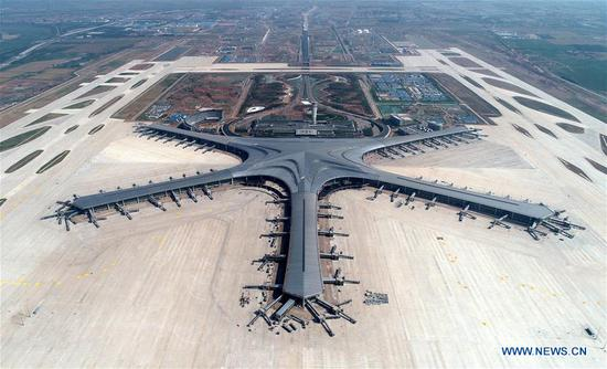 Qingdao Jiaodong Int'l Airport under construction in China's Shandong