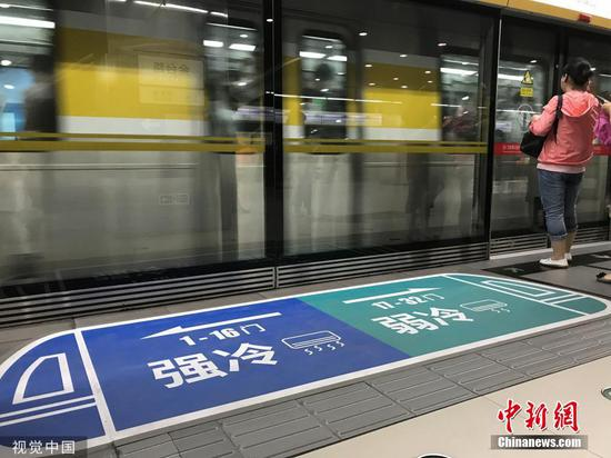 Signs show train cars of Line 6 of Beijing Subway  have different temperatures. (Photo/VCG)