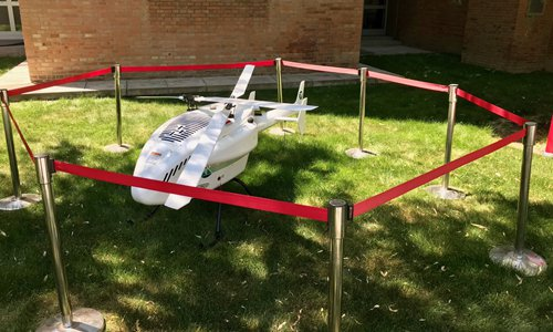 The biggest drone is on show at the Swiss Embassy in China by SwissDrones Operating AG in Beijing on Friday (Dong Feng/GT)