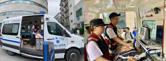 Sichuan Provincial People's Hospital's 5G-connected ambulance. (CGTN Photo)