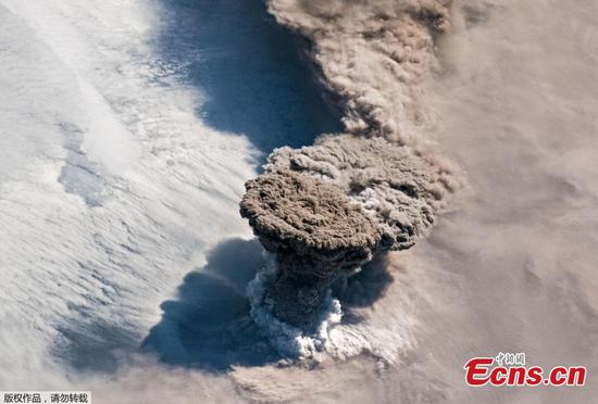 Raikoke Volcano's eruption seen from space