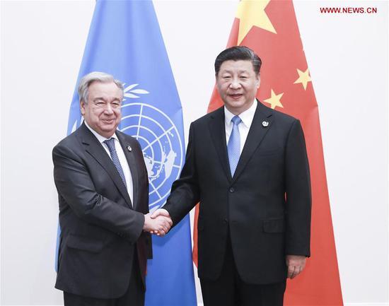 Chinese President Xi Jinping (R) meets with UN Secretary-General Antonio Guterres in Osaka, Japan, June 28, 2019. (Xinhua/Pang Xinglei)