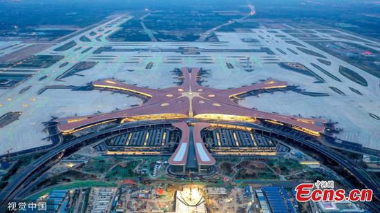 Stunning: Lights tested at Beijing's new airport