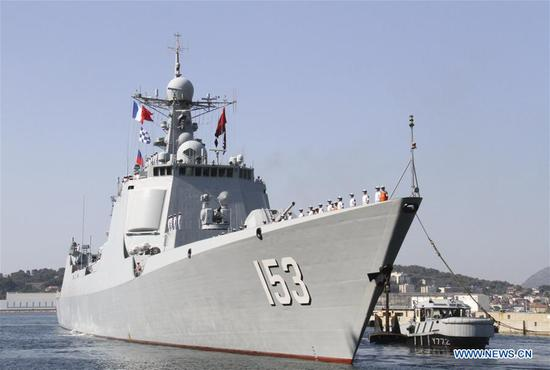 Chinese missile destroyer Xi'an arrives in France for five-day visit