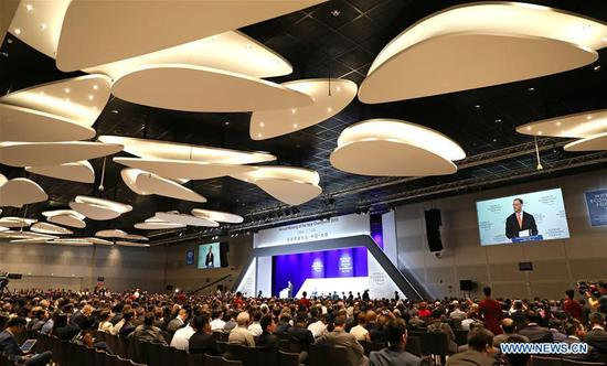 Opening plenary of Summer Davos held in Dalian