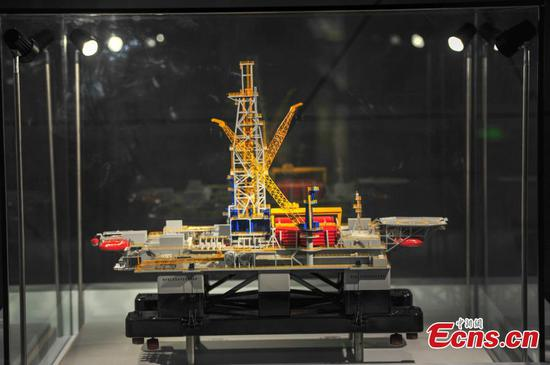 Model of drilling rig HYSY 982 on show in Dalian