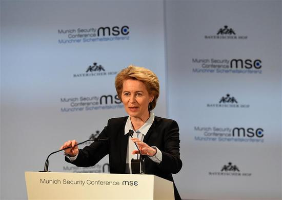 German Defense Minister Ursula von der Leyen addresses the 55th Munich Security Conference (MSC) in Munich, Germany, on Feb. 15, 2019.  (Xinhua/Lu Yang)