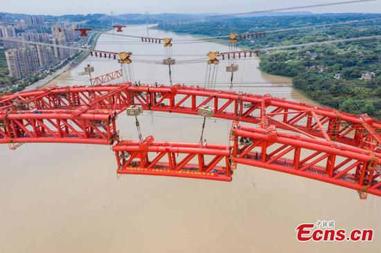 Highway bridge under construction over Yangtze River