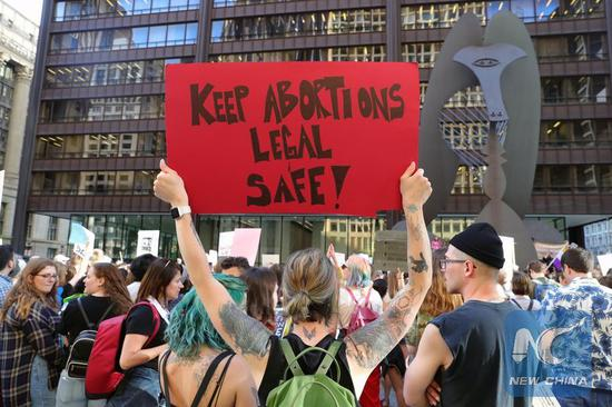 People participate in a protest against abortion ban at Daley Plaza in downtown Chicago, the United States, on May 23, 2019. (Xinhua/Wang Ping)