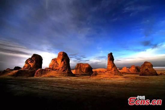 Magnificent Yadan landforms at sunset