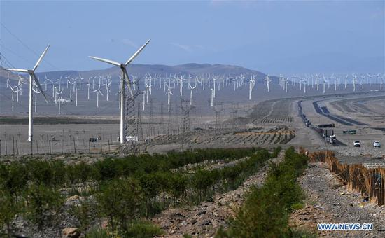 Baiyanghe wind power field in Turpan, China's Xinjiang