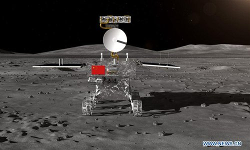 Photo provided by State Administration of Science, Technology and Industry for National Defense shows the image of the rover for China's Chang'e-4 lunar probe. (Photo/Xinhua)
