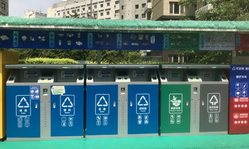 Eight categories of smart trash bins at a residential community in Beijing's Xicheng district. (Photo: Wang Qi/GT)