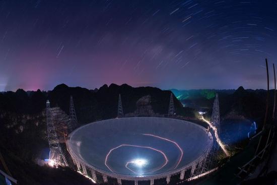 China's Five-hundred-meter Aperture Spherical Radio Telescope (FAST) in southwestern China's Guizhou Province. [Xinhua Photo]