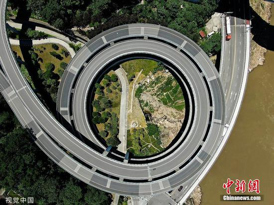 Chongqing spiral overpass an impressive sight from the air