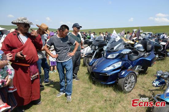 Motorbikes on show on Inner Mongolia grasslands
