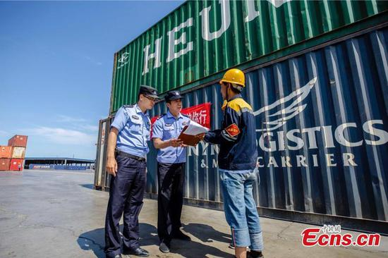Police ensure safety of China-Europe freight trains
