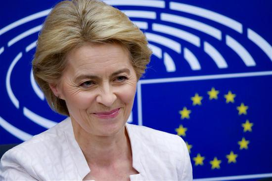 Ursula von der Leyen attends a press conference after being elected the next president of the European Commission at the headquarters of European Parliament in Strasbourg, France, July 16, 2019. Germany's Ursula von der Leyen was elected to be the next president of the European Commission on Tuesday with a slim majority. (Xinhua/Zhang Cheng)