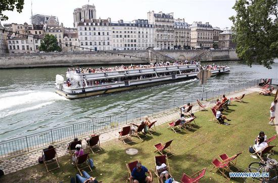 Annual Paris Plage event held at banks of River Seine